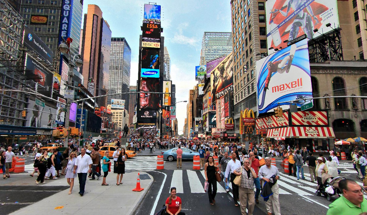 Times Square, New York City - a center for film.