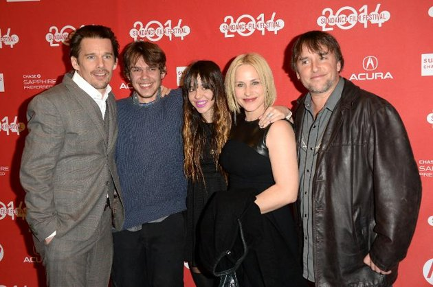 Left to right: Ethan Hawke, Ellar Coltrane, Lorelei Linklater, Patricia Arquette, and Richard Linklater.