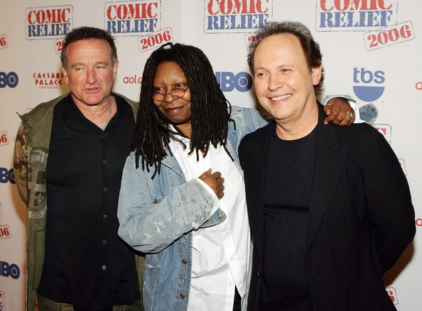 Williams, Goldberg, and Crystal at Comic Relief