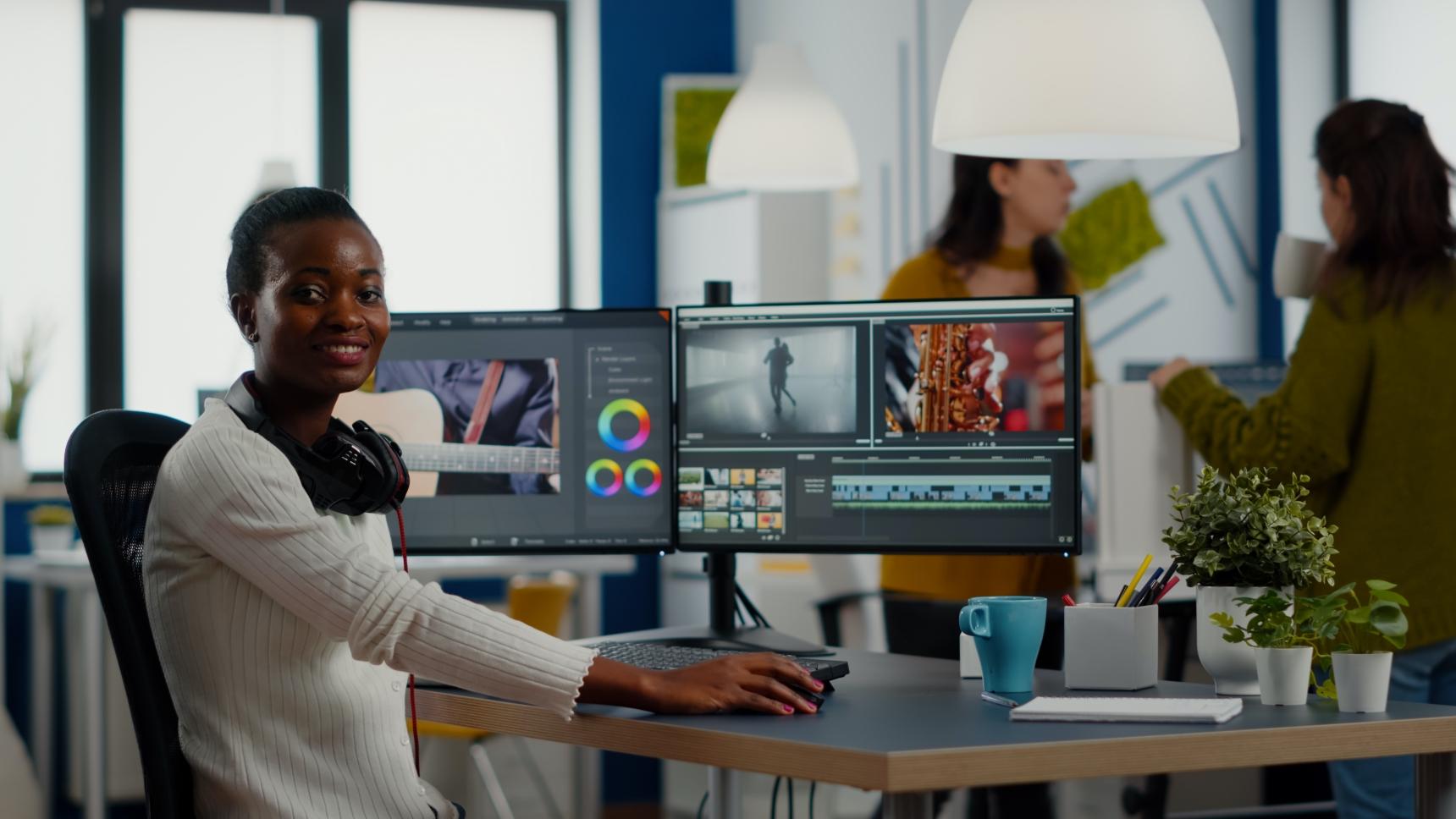 video-editor-looking-at-camera