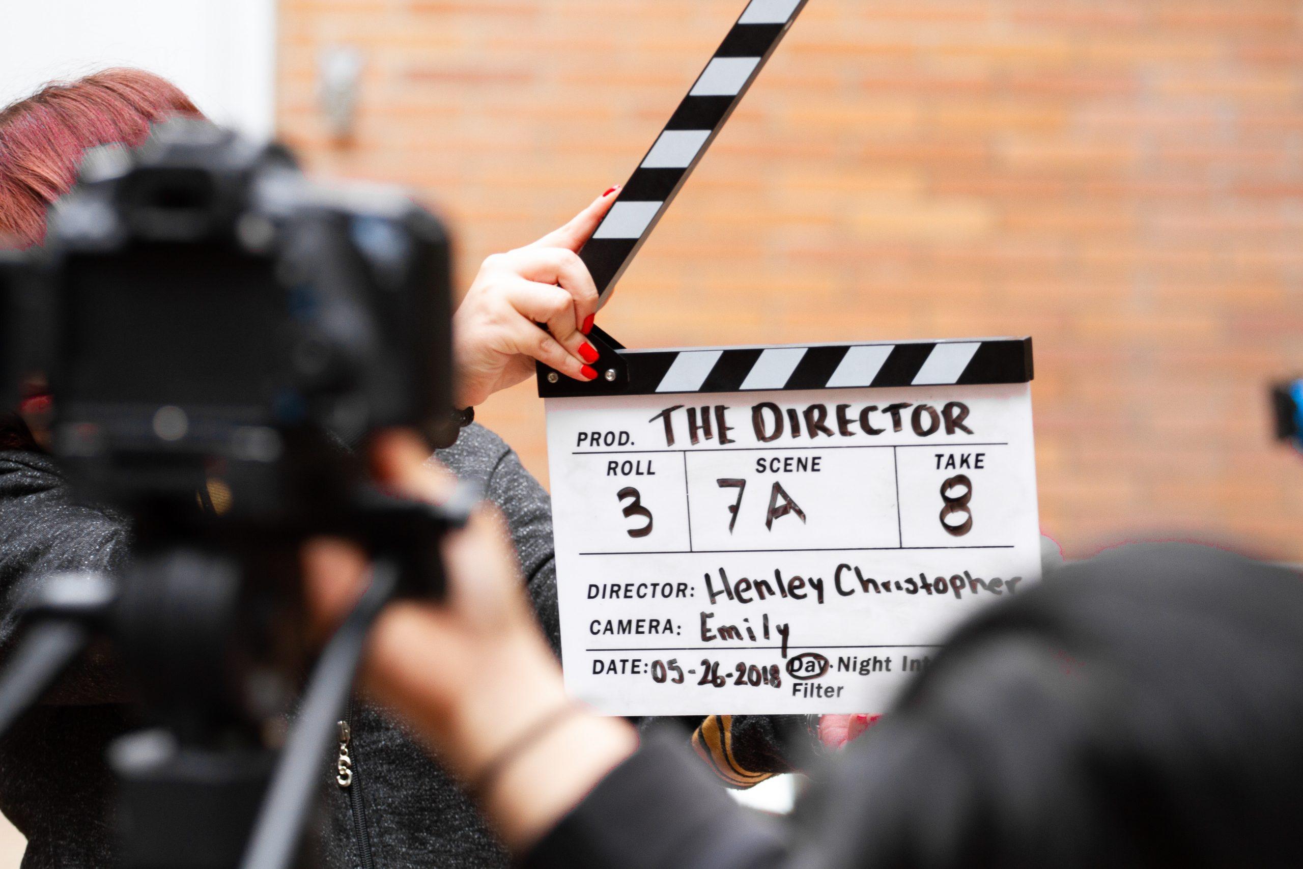 A film set, camera and slate